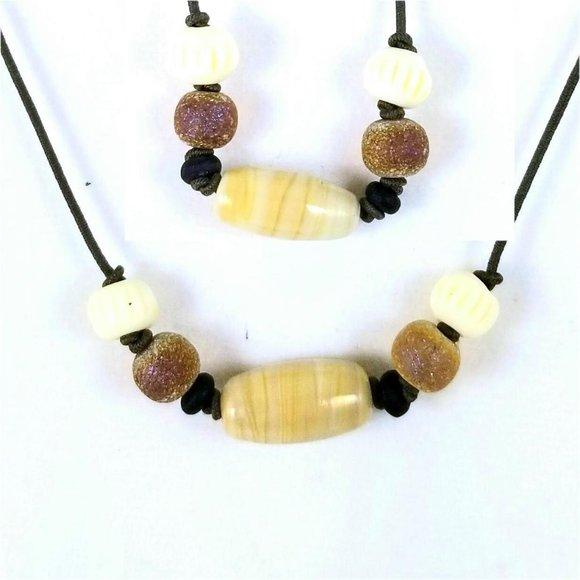 Tan and yellow jewelry set